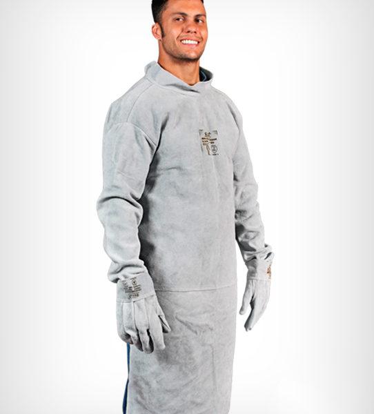 Avental de Raspa com Mangas tipo Barbeiro (Soldador).  avental de raspa sem manga tipo acougueiro zanel 8e75d8a009